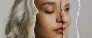 Image of part of three different women's faces overlaid to look like a single face. The women are different ages, and have different skin and hair colour.