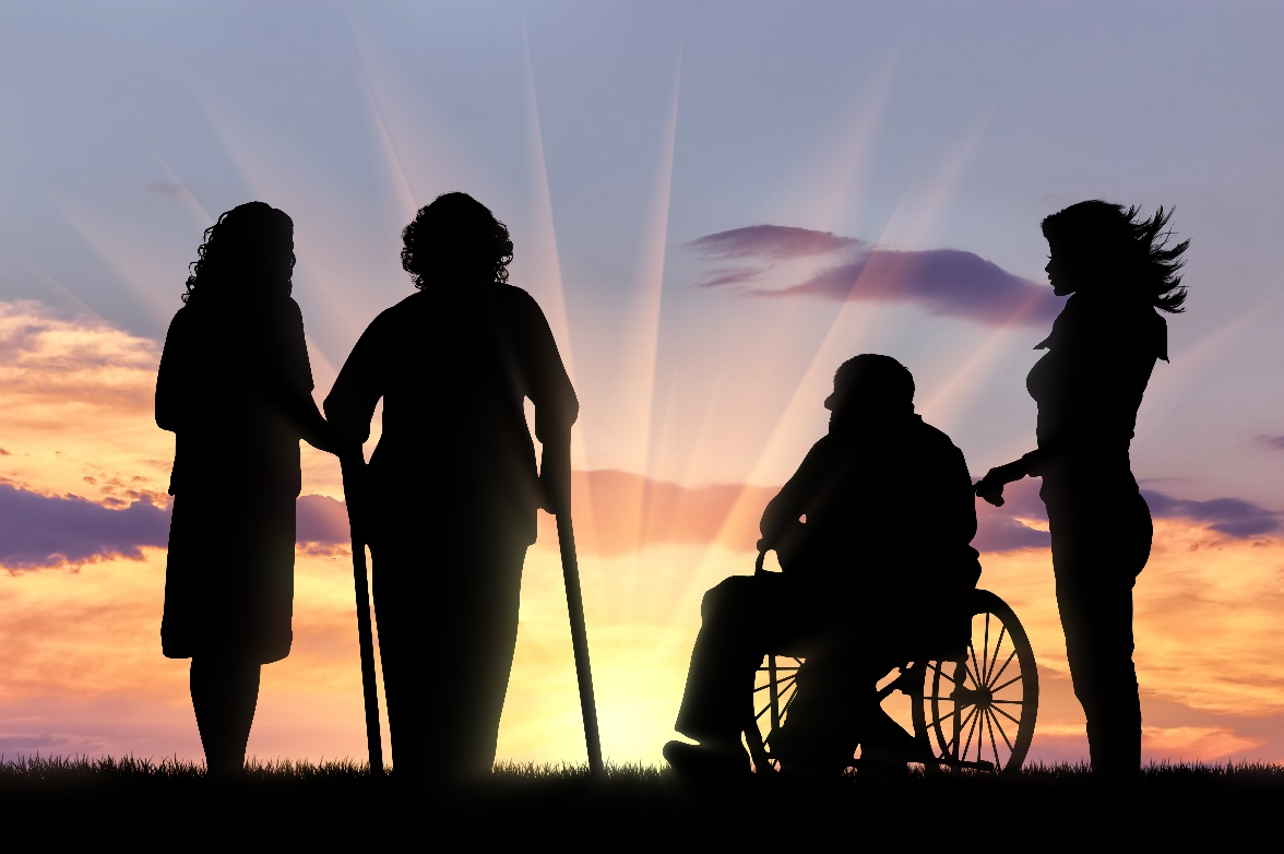 Women with different disabilities looking at a dawn